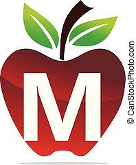 Apple letter M Logo Design Template Vector