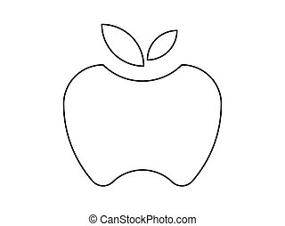 Apple line illustration vector on white background.