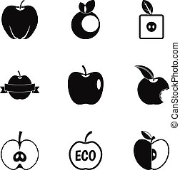 Apple logo icon set, simple style