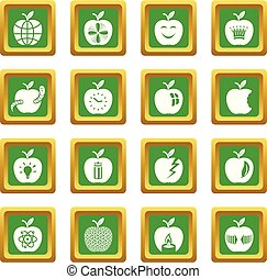 Apple logo icons set green square vector