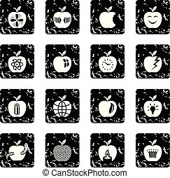 Apple logo icons set grunge vector