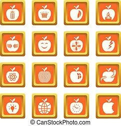 Apple logo icons set orange square vector
