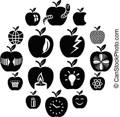 Apple logo icons set, simple style
