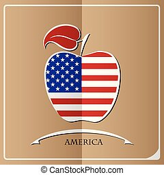 apple logo made from the flag of America