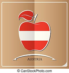 apple logo made from the flag of Austria