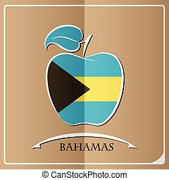 apple logo made from the flag of Bahamas