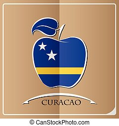 apple logo made from the flag of Curacao