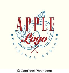 Apple logo original design, retro emblem for shop, cafe, restaurant, cooking business, brand identity vector Illustration on a white background