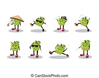 apple man cartoon set
