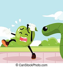 apple man chased by giant worm