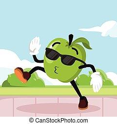 apple man jogging illustration