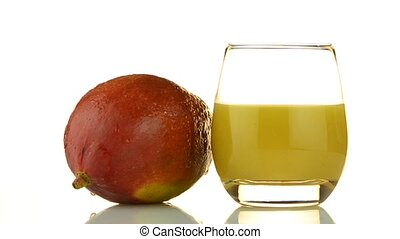 Apple mango and juice rotating on white background.