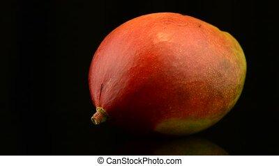 Apple mango rotating on black background.