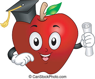 Illustration of an Apple Mascot Wearing a Graduation Cap and Holding a Diploma