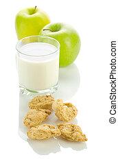 apple milk and cookies
