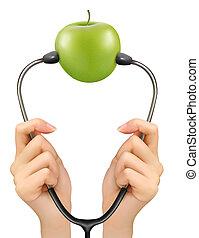 apple., monde médical, arrière-plan., vecteur, stéthoscope, vert