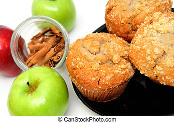 Apple Muffins - Apple Spice muffins on a white background...