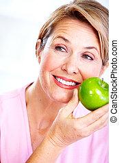 apple., mulher sênior, diet.