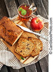Apple nut cake and cup of tea