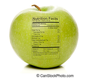 Apple Nutrition Facts - The nutrition facts stamped on an...