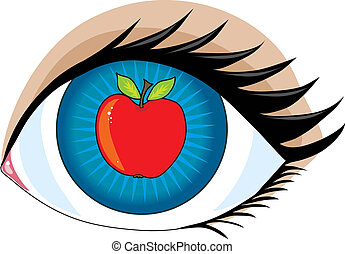Apple of my Eye - An apple in the center of an eye - the ...