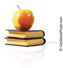 Apple on a books.