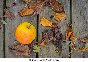 Apple on a wooden background