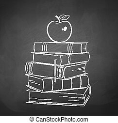 Apple on books. Chalkboard drawing. Vector illustration.