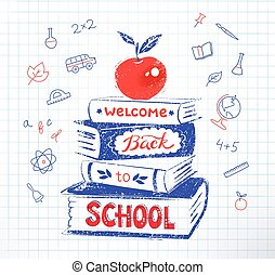 Apple on books with Back to School lettering