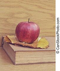 Apple on old book vintage