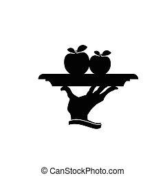apple on plate black vector silhouette
