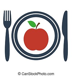 Apple on plate icon on white background.
