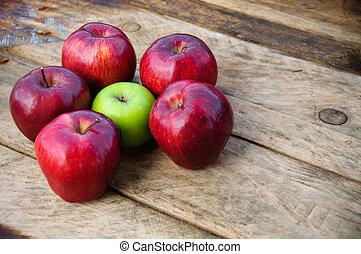 Apple on wooden background, Fruit