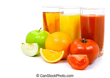apple orange and tomato fruits with juice in glass