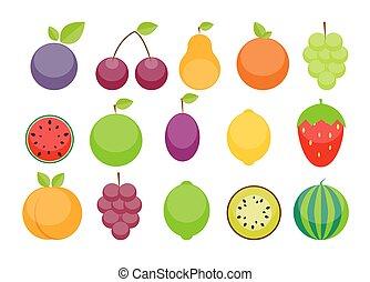 Apple, Orange, Plum, Cherry, Lemon, Lime, Watermelon, Strawberri