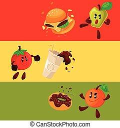 Apple, orange, tomato fighting burger, donut, coke, cartoon...