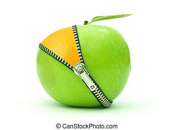 Apple orange zip