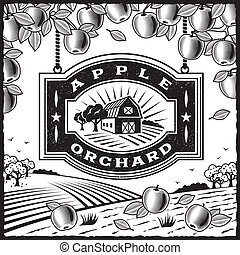 Retro landscape with Apple Orchard sign in woodcut style. Black and white vector illustration with clipping mask.