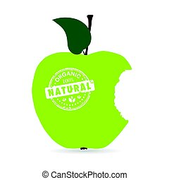 apple organic and natural illustration in green color