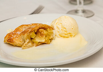 Apple Pastry and Melting Ice Cream