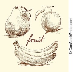 Apple, pear and banana on a white background. Sketch. Vector