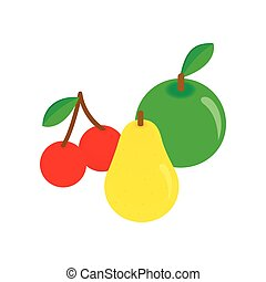 Apple, pear and cherries isometric 3d icon