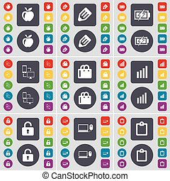 Apple, Pencil, Charging, Connection, Shopping bag, Diagram, Lock, Laptop, Survey icon symbol. A large set of flat, colored buttons for your design. Vector