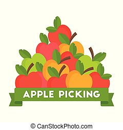 Apple picking logo. Natural Products, Farm Market.