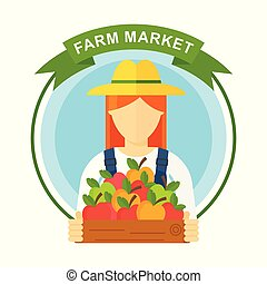 Apple picking logo, woman with apple. Farmers characters.