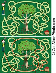 Apple picking maze for kids with a solution