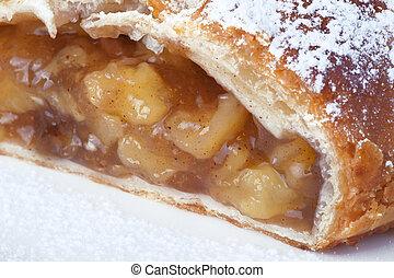 Apple pie - a piece of apple pie, close up