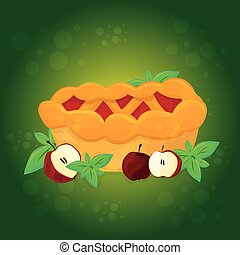 Apple pie and Apples - vector cartoon illustration - Apple...