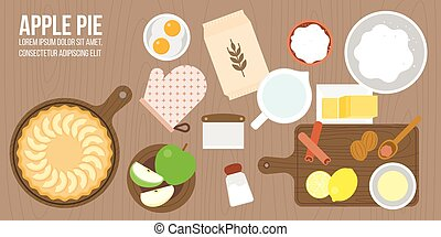 apple pie and ingredients, utensils in aerial view such as rolling pin, apple, nutmeg, cinnamon, wooden tray plate, lemon juice, sugar, flat design for cover, banner or poster