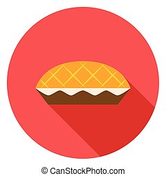 Apple Pie Circle Icon. Vector Illustration. Thanksgiving...